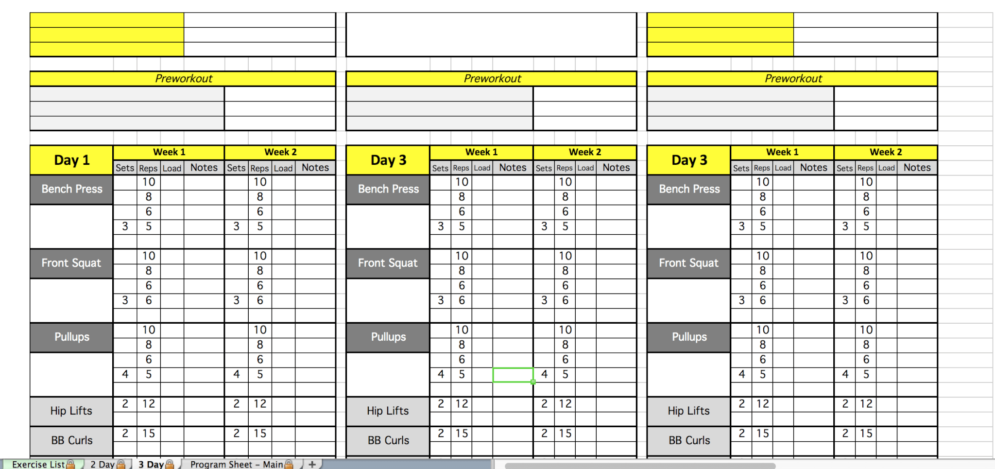 Weight Lifting Template Excel