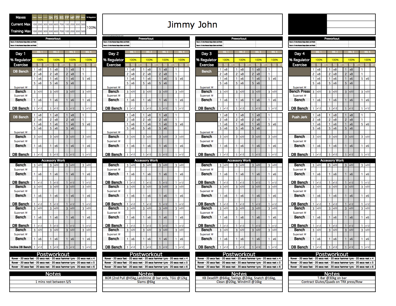 workout excel template