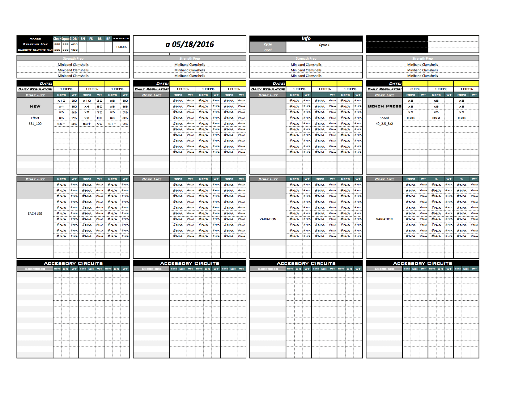 Platinum Strength & Conditioning Excel Template - Excel