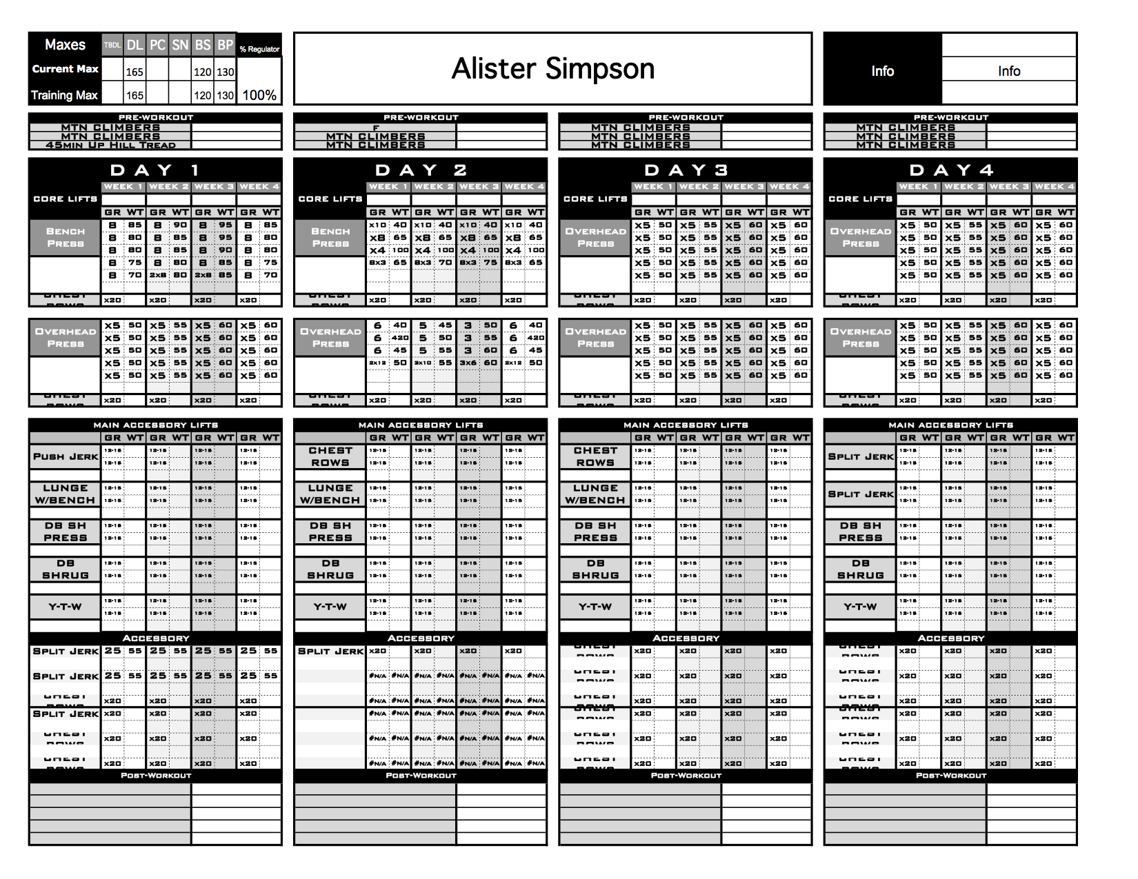 bodybuilding excel template - strength program template 28 images strength workout