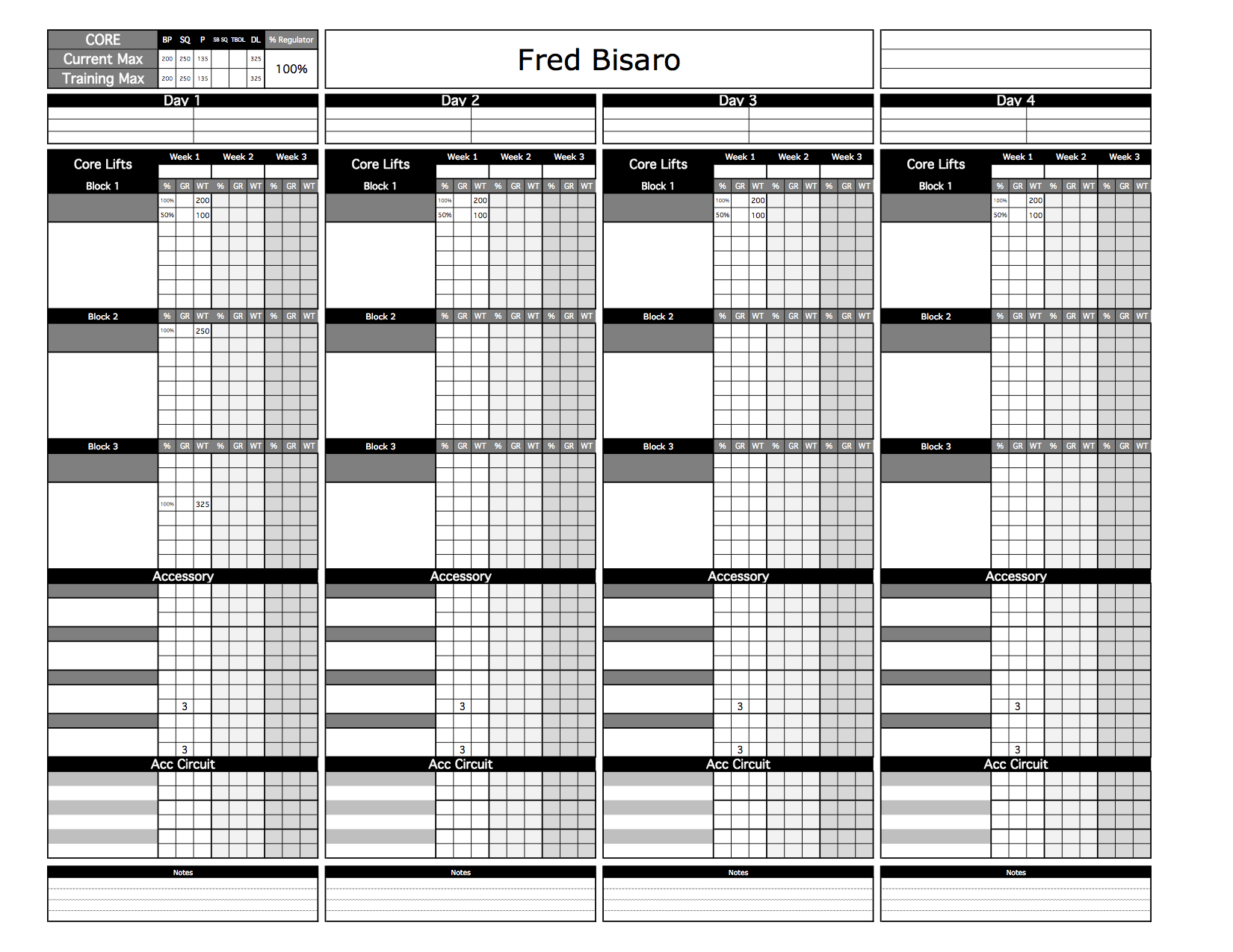 Bronze Strength & Conditioning Templates - Excel Training ...