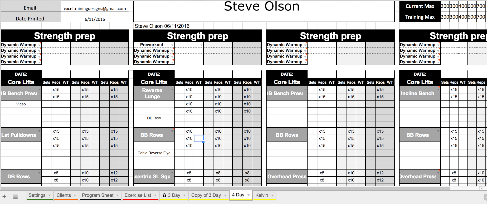 Google Sheets Personal Training Templates - Excel Training Designs