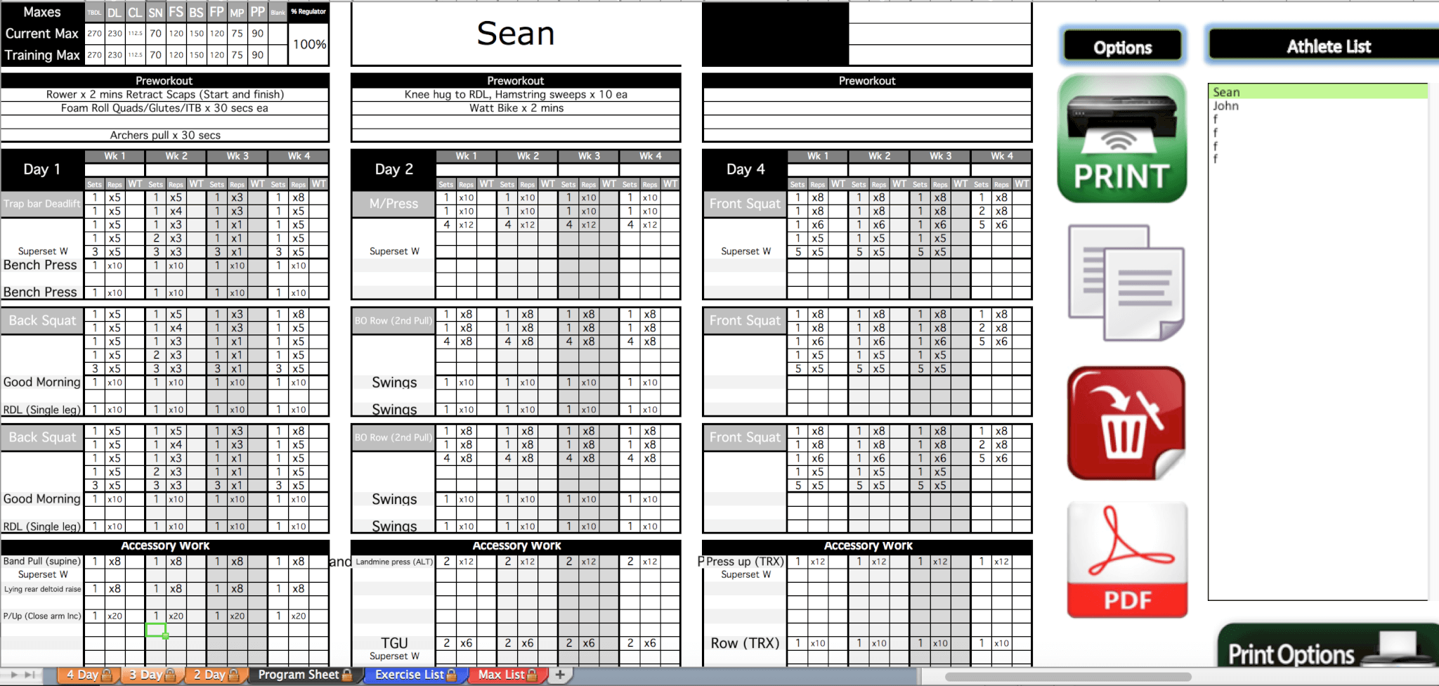Gold strength conditioning templates excel training for Weight lifting template excel